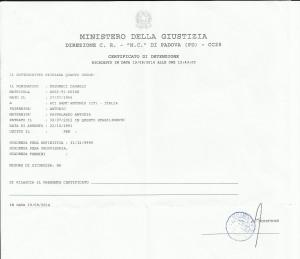 Certificato di detenzione carmelo musumeci