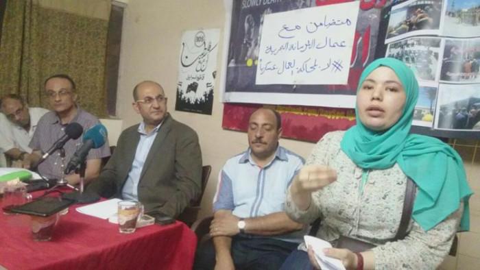 15 agosto 2016: Sindacalisti e attivisti al Cairo durante un incontro pubblico della campagna in solidarietà ai lavoratori dei cantieri navali di Alessandria incarcerati.