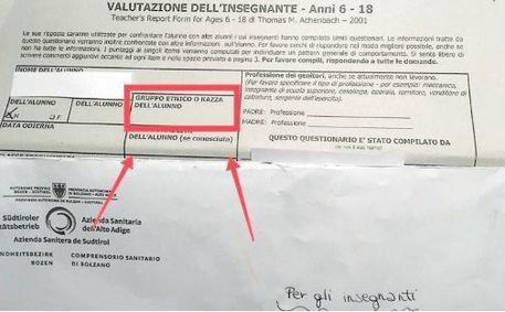 """Questionario Asl Bolzano chiede """"razza"""" dell'alunno"""