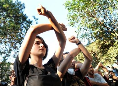 Protesters at Istanbul's Gezi Park in June 2013