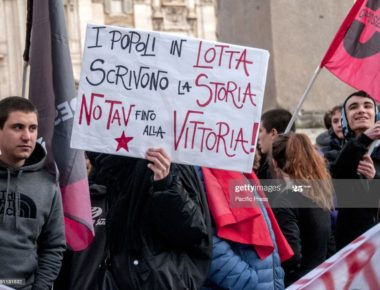 ROME, ITALY - 2019/12/31: Sit-in in solidarity with Nicoletta Dosio, 73, historic militant of the NoTav movement, arrested the day before in Bussoleno (in the western area of Turin, in the Val di Susa, Piedmont) for a one-year prison sentence in connection with a roadblock of 2012. Solidarity demonstrations with the activist were held throughout Italy. (Photo by Patrizia Cortellessa/Pacific Press/LightRocket via Getty Images)