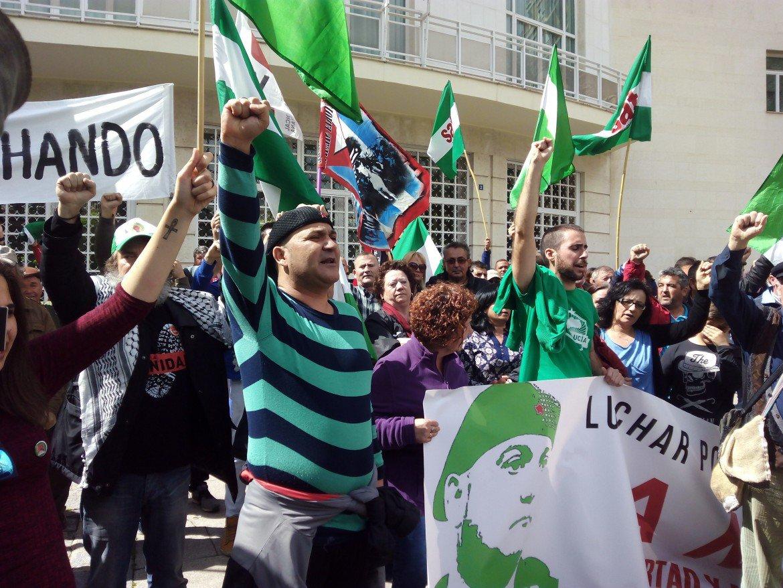 Andrés Bódalo a una manifestazione del Sindicato Andaluz de Trabajadores