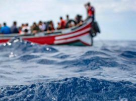 A boat carrying migrants is stranded in the Strait of Gibraltar before being rescued by the Spanish Guardia Civil and the Salvamento Maritimo sea search and rescue agency that saw 157 migrants rescued on September 8, 2018. - While the overall number of migrants reaching Europe by sea is down from a peak in 2015, Spain has seen a steady increase in arrivals this year and has overtaken Italy as the preferred destination for people desperate to reach the continent. Over 33,000 migrants have arrived in Spain by sea and land so far this year, and 329 have died in the attempt, according to the International Organization for Migration. (Photo by Marcos Moreno / AFP)